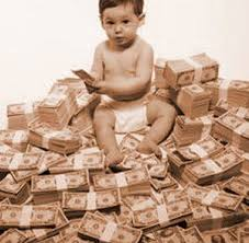 Baby on money